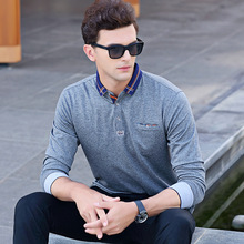 2017 Autumn Men's Casual Long Sleeves POLO Shirt Fashion Business Cotton Long-sleeved Solid Polo Shirt Brand Clothes XXXL