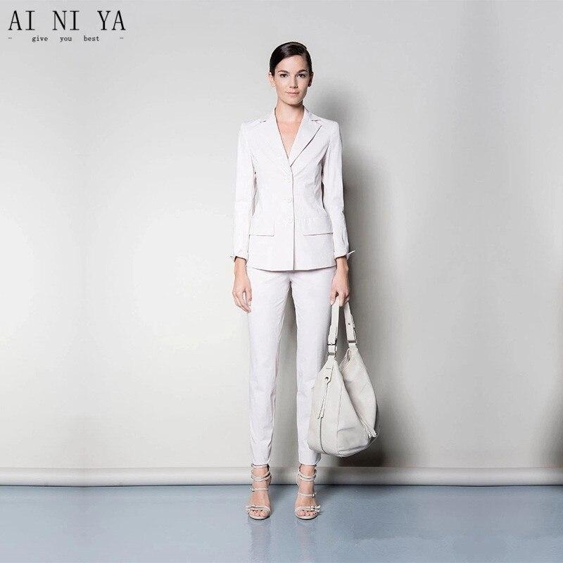 Femelle Slim Chart Blanc Costume Ensembles Fit same Color Pièces Uniforme Dames Formelle Veste Choose Pantalon Pour Femmes 2 As D'affaires Costumes Style Picture Bureau xY6TRaq