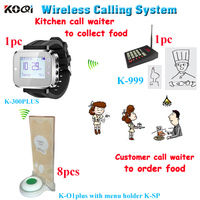 Wireless buzzer kitchen call waiter customer calling system with 1 keypad for cooker 1 smart watch 8 call bell with menu holder