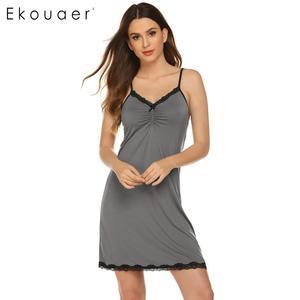 Image 1 - Ekouaer femmes Camisole chemise de nuit vêtements de nuit sexy col en v sans manches dentelle garniture arc plissé lâche été chemise de nuit chemises de nuit