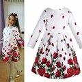 Marca 4-12 Anos de Menina Rosa Flor Vestidos Vestido de Outono para Adolescentes Traje Longo Seelve Crianças Tutu Roupas Vintage Vestidos Próxima