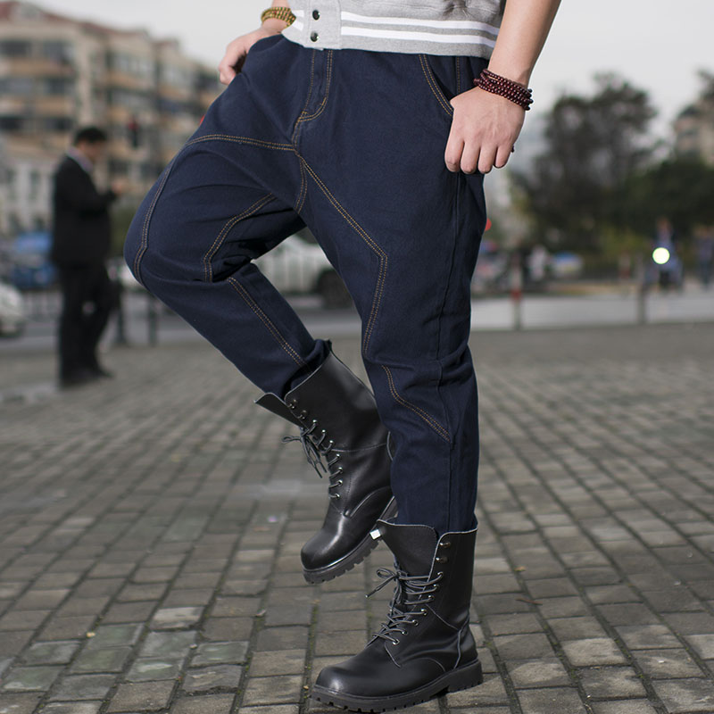 ФОТО ANBOLUO Fashion fat man Low crotch collapse pants Extra large size Hanging crotch jeans Young men hip hop Loose skateboard pants