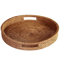 Hot Rattan Tray With Handle Hand-Woven Multi-Purpose Wicker Tray With Durable Rattan Fiber Round 13.5 Inch Diameter