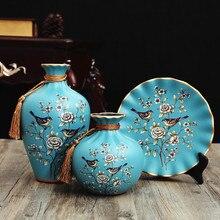 3Pcs Europe ceramic vase curio shelves Antique Porcelain vases for flowers Hand painted flower wedding decoration home