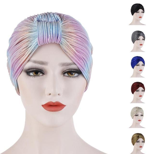 Kadınlar kemo kap şapka pilili islami türban düz renk kasketleri Skullies başörtüsü Wrap hindistan şapka kaput şapkalar İslam arap kap
