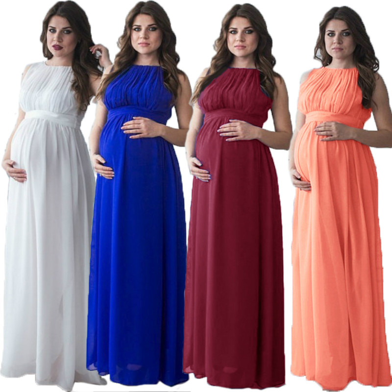 Sleeveless stitching maternity trailing dress long plus size four colors pregnant women dress