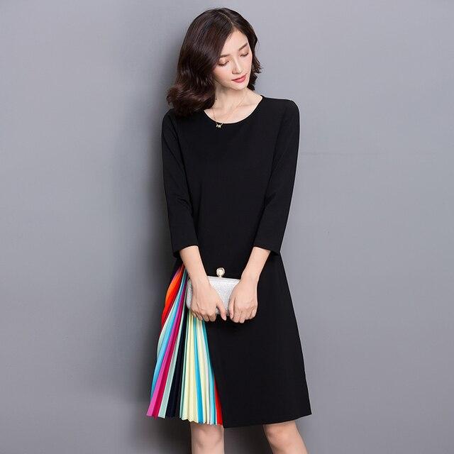 bc4d49cd9d075 زائد الحجم 3xl الخريف الربيع ملابس النساء جديد س الرقبة ثلاثة ربع كم مطوي  الرأسي شريط