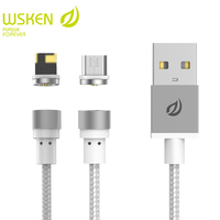 WSKEN Micro USB Round Magnetic Cable For Samsung S7 Huawei For iphone X-Cable USB Wire For iphone 6 6S 5 5S 7 7S Plus