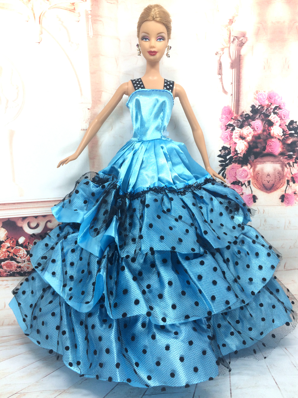 NK One Pcs Handmade Princess Wedding Dress Noble Party Gown For Barbie Doll Fashion Design Outfit Best Gift For Girl Doll 054B
