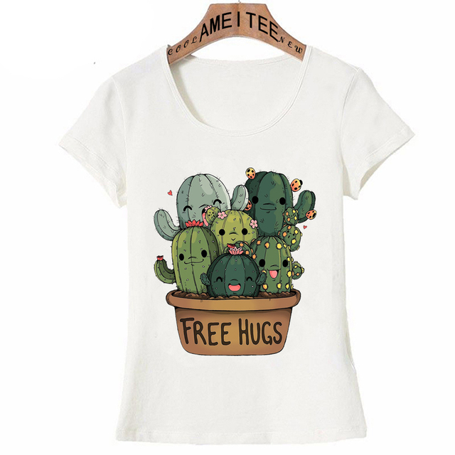 4bad918c New Summer Fashion Women T Shirt Cute Cactus Free Hugs Girl Print T-Shirt  Mini Casual Tops Cute Tees Hipster Short Sleeve