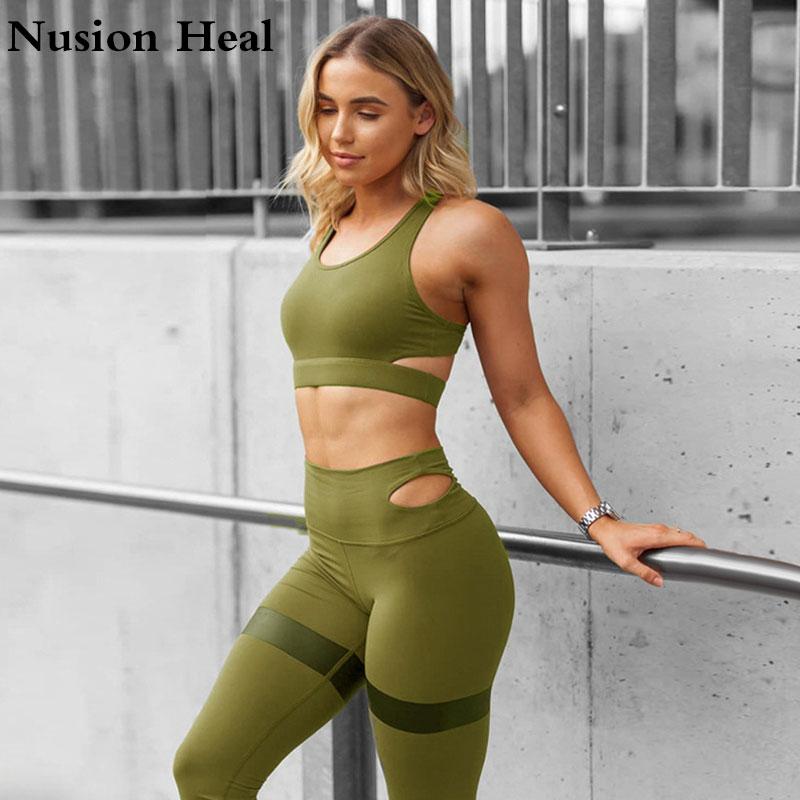 Slim Leggings Women Solid Fitness Workout Legging High Waist Pencil Pants Yoga Leggins+Sports Yoga Bra Tops Shirts Running Tight