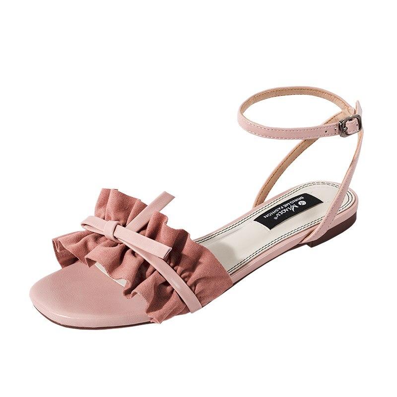 En Chaussures Design Femmes Falt Sandales Sangle Robe Talons Boucle Suède Cuir De Rose Mode Nouveau Volants Dames 2018 mn8N0w