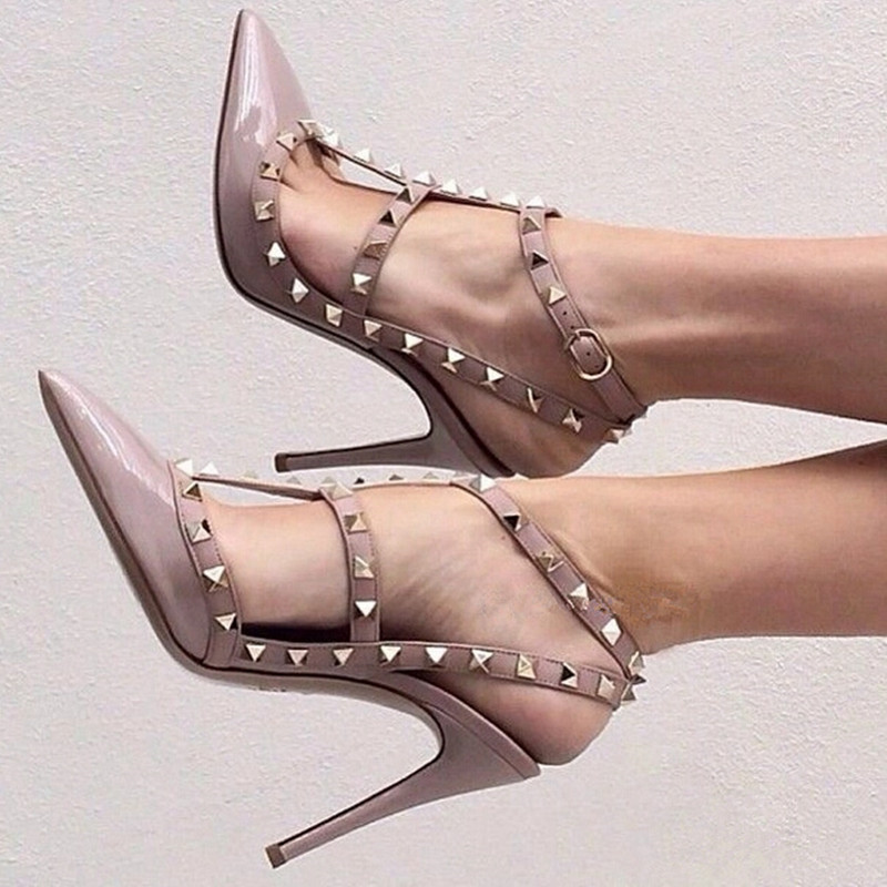 Freeshipping Woman Pumps with Rivets Pointed Pointed heels and sandals Rome Style Sandals For Woman