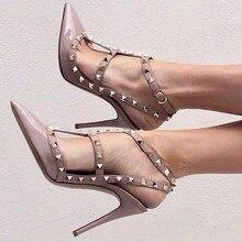 Бесплатная доставка, женские туфли-лодочки с заклепками, с острым носком, на каблуке и сандалии, женские сандалии в римском стиле