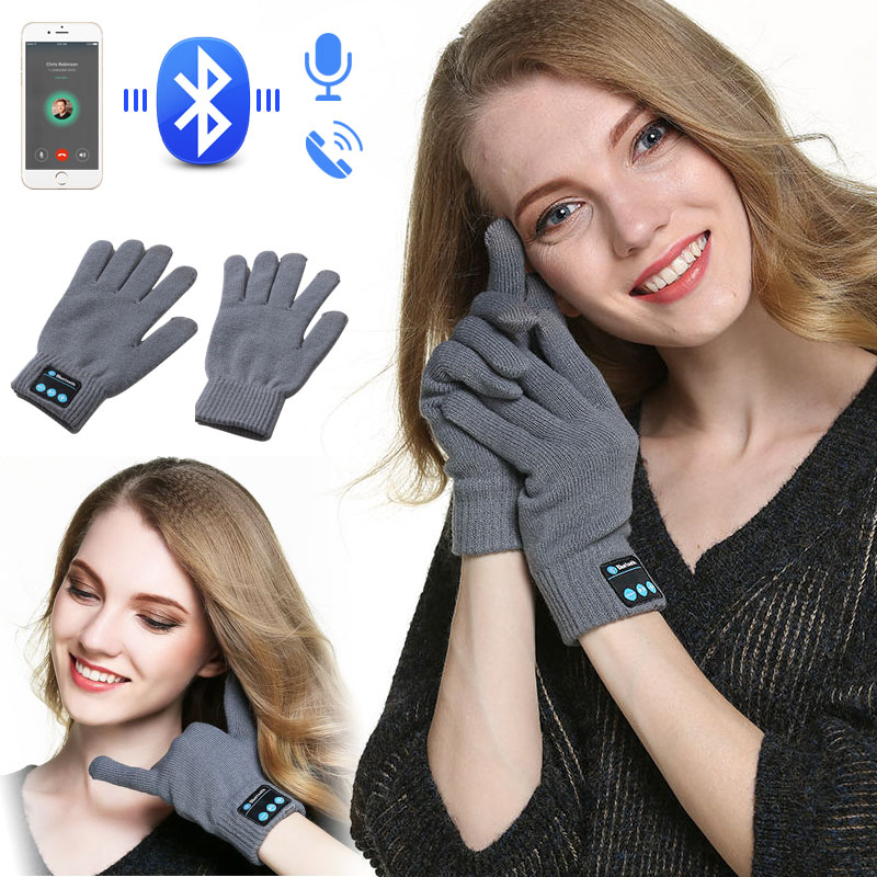 Fashion Bluetooth Gloves for Women Men Winter Knit Warm Mittens Touch Screen Gloves Free Hands Call Talking for iPhone Xiaomi