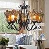 American Vintage Black Iron E27 Bulb Chandeliers Lamp European DIY Home Deco Retro Blown Glass Living