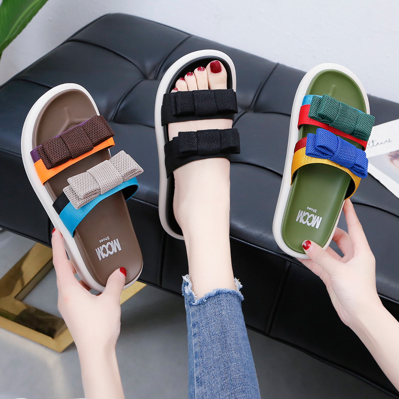 Women Wear Slipper Shoes 2019 New Summer Fashion Joker Wet Red Beach Sports Lady Slippers Ins Fashion Shoes in Slippers from Shoes