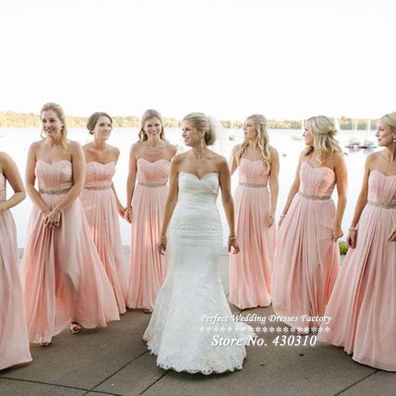 Popular Sweetheart Light Pink Long Bridesmaid Dress-Buy Cheap ...