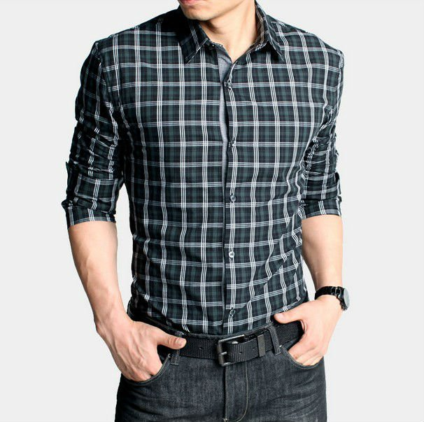 Free Shipping New Mens Shirts Casual Slim Fit Stylish Shirts green plaid shirts fashion Size:M,L,XL,XXL,XXXL M222