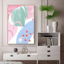 Pink Blue Green Oil painting Hand painted on Canvas Acrylic modern abstract cuadros Home decor quadro wall Art pictures