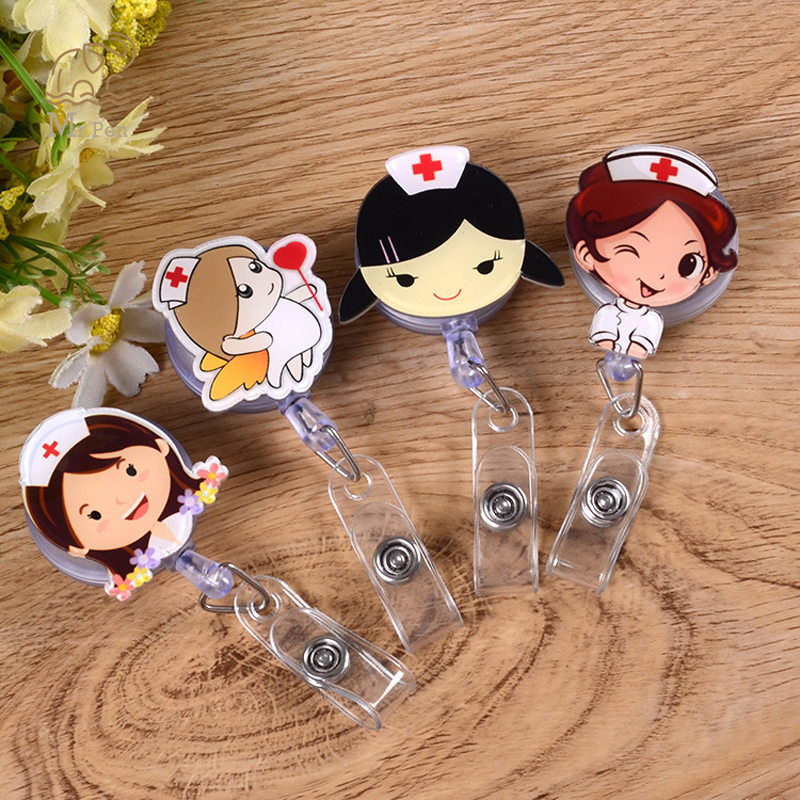 1pc Cute Cartoon Nurse Doctor Shape Retractable Badge Reel Kawaii Students Nurse Exhibition Pull Key ID Name Card Badge Holder