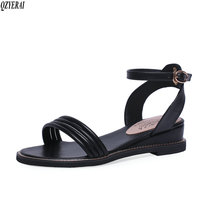 New arrival summer leather sandals 100% leather buckle women shoes wedges women leather sandals beach women's shoes sizes 34 43