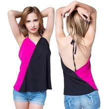 2017 summer tank top women new hit color vest chiffon stitching halter top