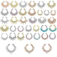 Top Quality Mixed Designs Fake Nose Ring Septum Clip On Body Jewelry Hoop Nose Rings Piercing