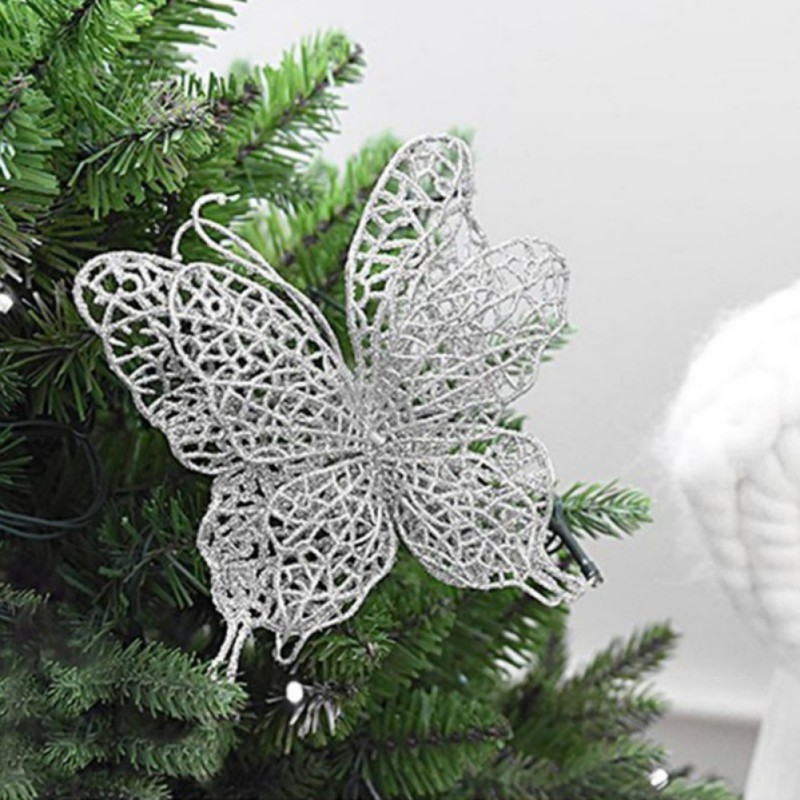 6pcs/set New Christmas Tree Decoration For Home Butterfly Decorations Christmas Tree Ornaments Wedding Party Decorations
