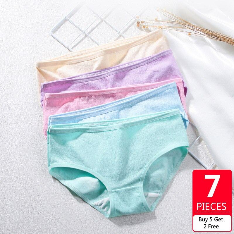 Feilibin 7Pcs/lot Women   Panties   Soft Cotton Underwear Low Waist Sexy Girls Solid Intimate Ladies Seamless Briefs Plus Size XXL