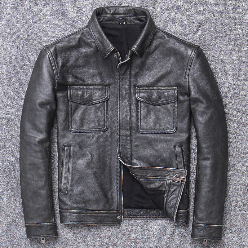 Free Shipping.Sales Plus Size Classic Leather Jacket,casual Genuine Leather Coat,vintage Mens Slim Leather Coat.business,sales