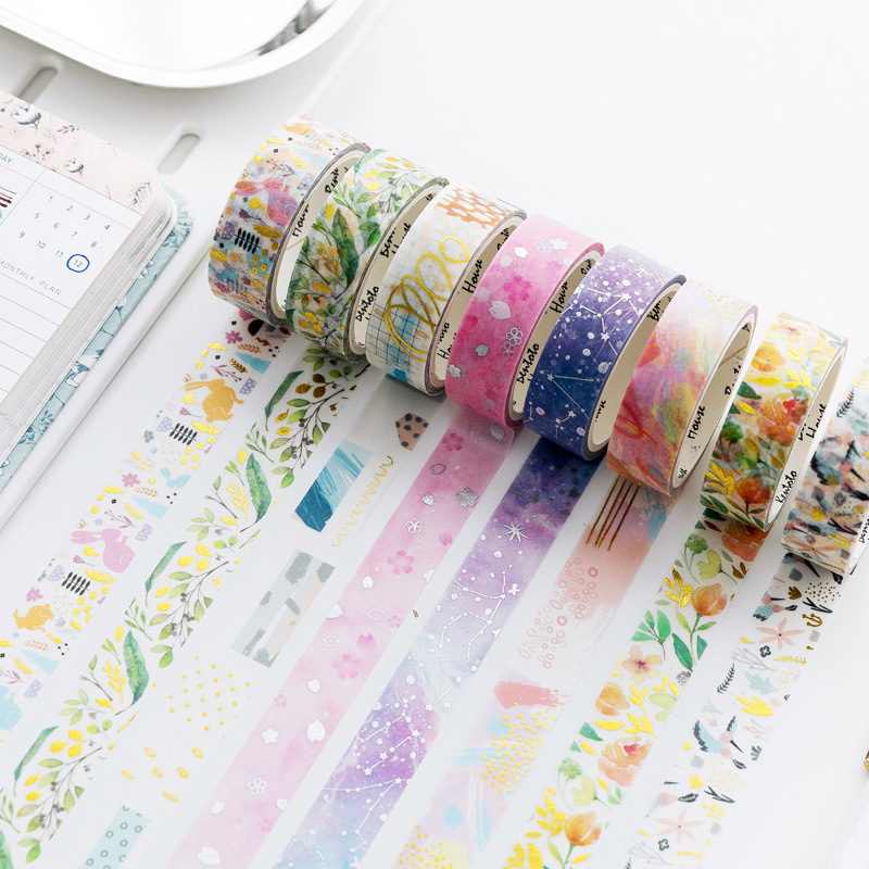 Laser Silver & Gold Stars Animal Japanese Washi Masking Tape Decorative Adhesive Tape Decora Diy Scrapbooking Sticker Label