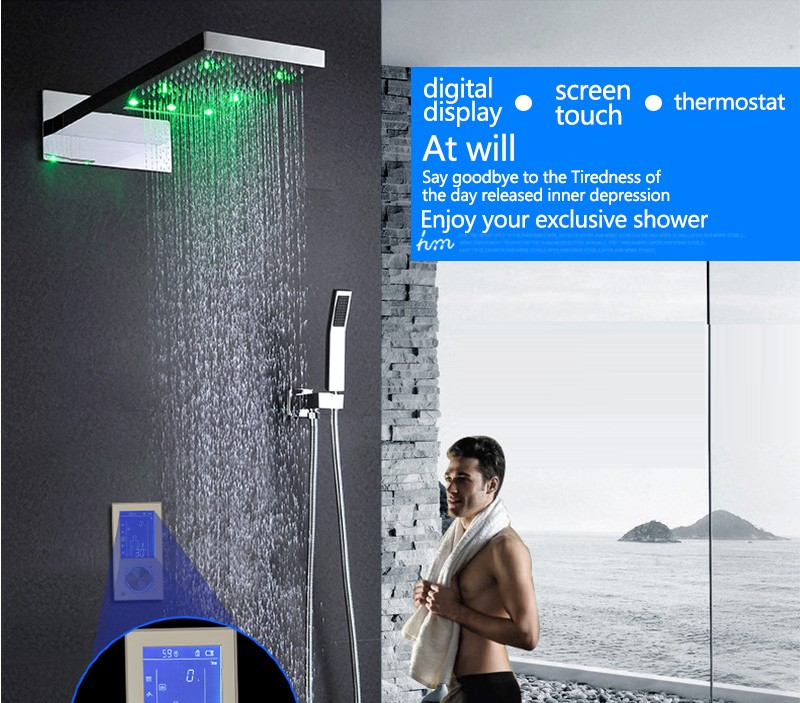 Digital Thermostat Waterfall Shower Controller Touch Control Panel Large SUS304 Rainfall Massage Bathroom Celling  (1)