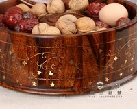 Solid wood creative fashion candy dish dried fruit dried fruit tray cartridge box ruled lid nuts seeds snack food tray