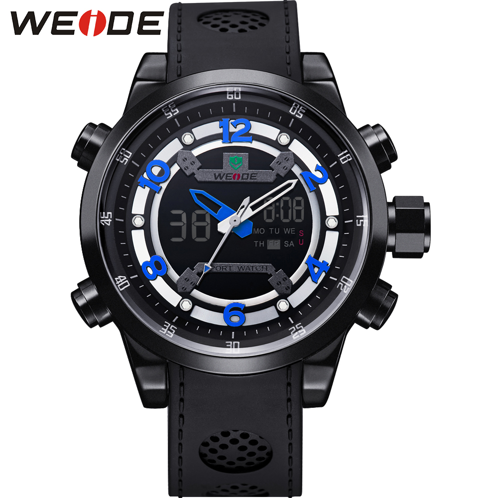 Hot Sale WEIDE Luxury Brand Fashion Men Sport Watch 30m Waterproof Dual Display Wristwatches Blue Color PU Strap Gift Metal Box brand weide fashion casual men watch black silicone strap 3atm waterproof dual display wristwatch relogio masculino sale items