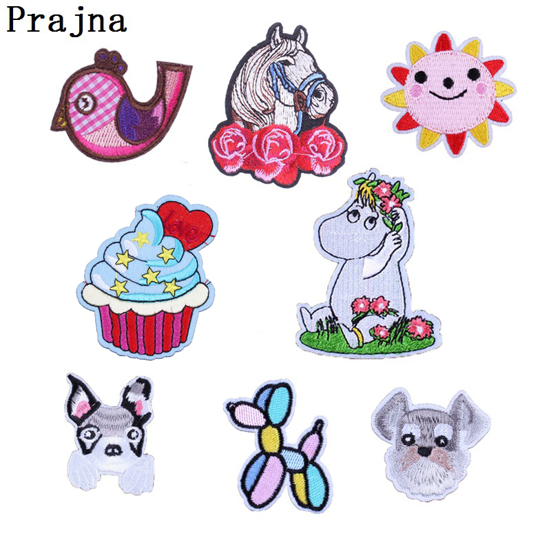 Prajna Hippopotamus Horse Dog Bird Sun Rose Patches For Clothes Cartoon Embroidery Patch Sewing Applique For Baby Dress Bags DIY