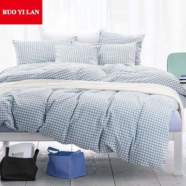 Kleinkariert 100 Gewaschener Baumwolle Vierteilige Bettwäsche Set