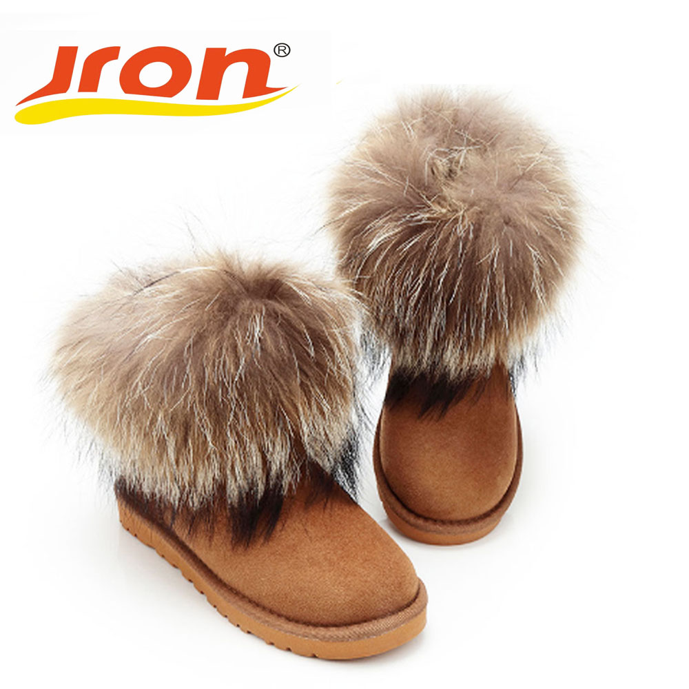Jron Genuine Fox Hair Woman Snow Boots High Quality TPR Rubber Sole Anti-slip Function Warm Ankle Boots For Winter Autumn
