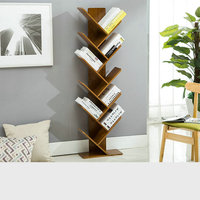 HQ BK01 Modern Office Living Home Tawny Color Bookshelf Bookcase Books CD Display Storage Rack Shelf