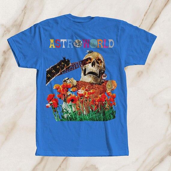 Astroworld álbum nuevo regalo imprimir camiseta Hip Hop camiseta cómodo camiseta Casual manga corta de impresión 100% algodón