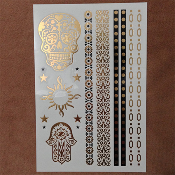 Styles Metallic Tattoo Flash Tattoos Metalic Temporary Tattoo Gold And Silver Crown Tattoo Disposable
