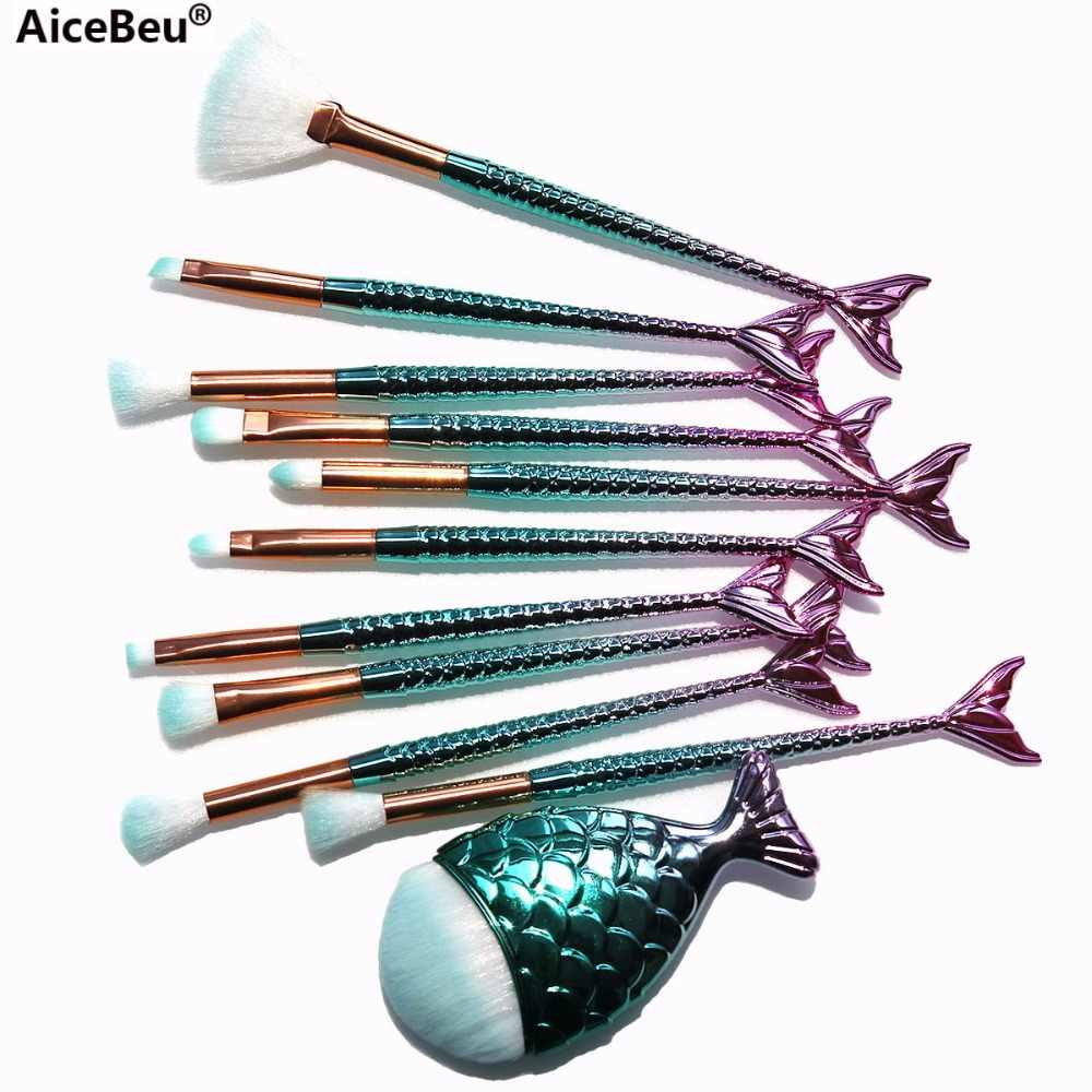 AiceBeu Pro Mermaid Make-Up Kwasten Foundation Wenkbrauw Eyeliner Blush Poeder Cosmetische Concealer Make-Up Kwasten Set maquillaje