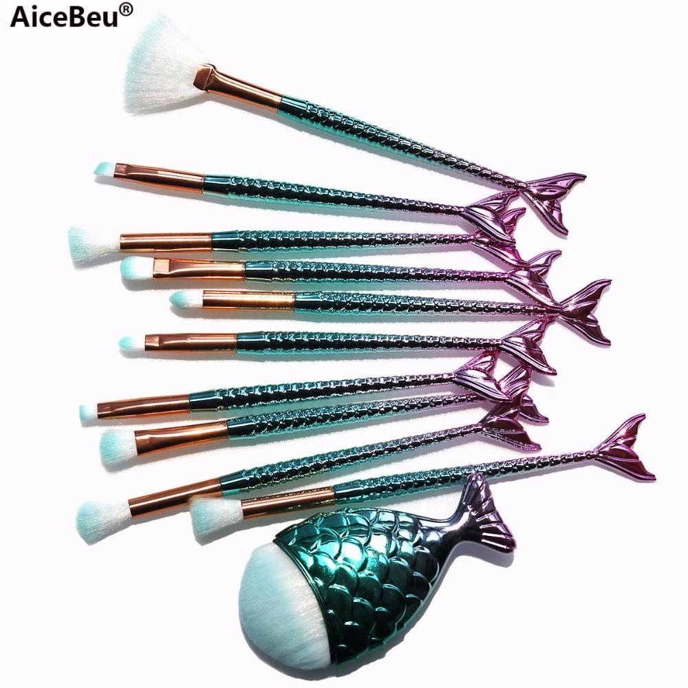 AiceBeu Pro Mermaid Makeup Brushes Foundation Eyebrow Eyeliner Blush Powder Cosmetic Concealer Makeup Brushes Set maquillaje