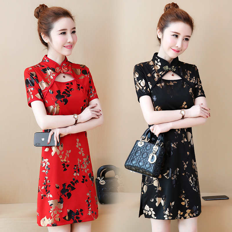 2020 Vintage Chinese Red Qipao Printed Women Sexy Split Cheongsam Female Improved Cheongsam Modern Mandarin Collar Dress