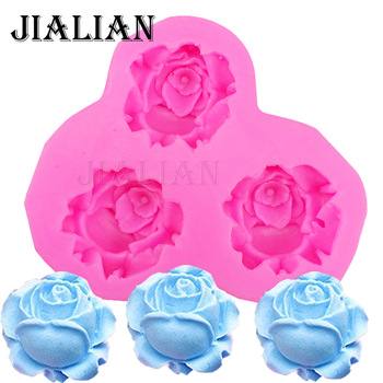3D roses flower soap mould chocolate wedding cake decorating tools DIY fondant silicone mold T0405