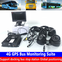 AHD coaxial SD card 4-channel monitoring host remote PTZ management 4G GPS bus monitoring kit transport vehicle / freight car
