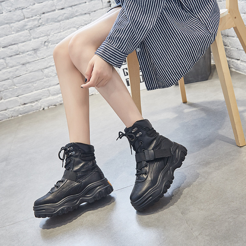 SWYIVY Black Boots Women Platform Sneakers Genuine Leather Bootee Woman 2019 Ankle Female Shoes Winter For