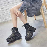 SWYIVY Black Boots Women Platform Sneakers Genuine Leather Bootee Woman 2019 Ankle Boots Female Shoes Winter Boots For Woman