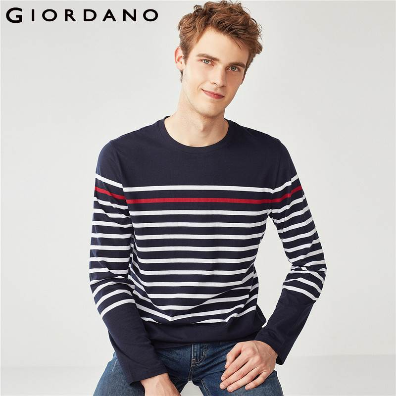 e3bbfb2b0ab3 Detail Feedback Questions about Giordano Men T Shirt Men Stripes 100% Pure  Cotton Long Sleeve Crewneck Tee Men Contrast Colors Casual Classic Style  Tshirt ...