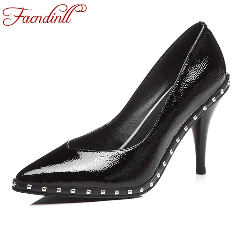 FACNDINLL fashion women pumps new sexy thick high heels pointed toe shoes woman dress party shoes genuine leather spring pumps facndinll shoes 2018 new fashion genuine leather women pumps med heels pointed toe shoes woman dress party casual black pumps